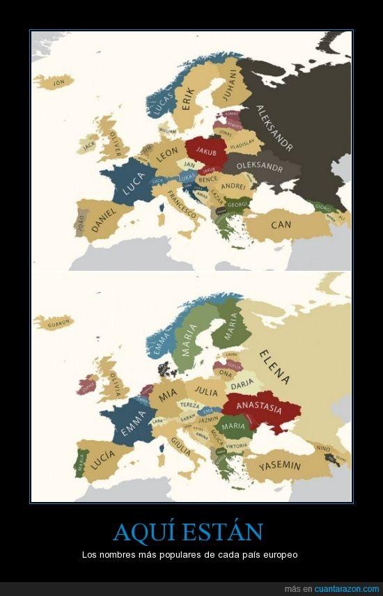 común,Daniel,europa,Julia,los nombres más populares,mapa,nombre,popular