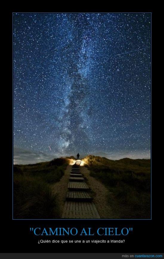 belleza,camino,cielo,estrellas,existir,Irlanda,naturaleza
