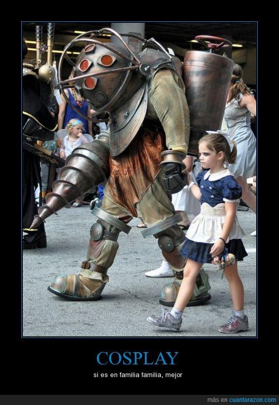 bioshock,cosplay,hermana pequeña,hijos,padres