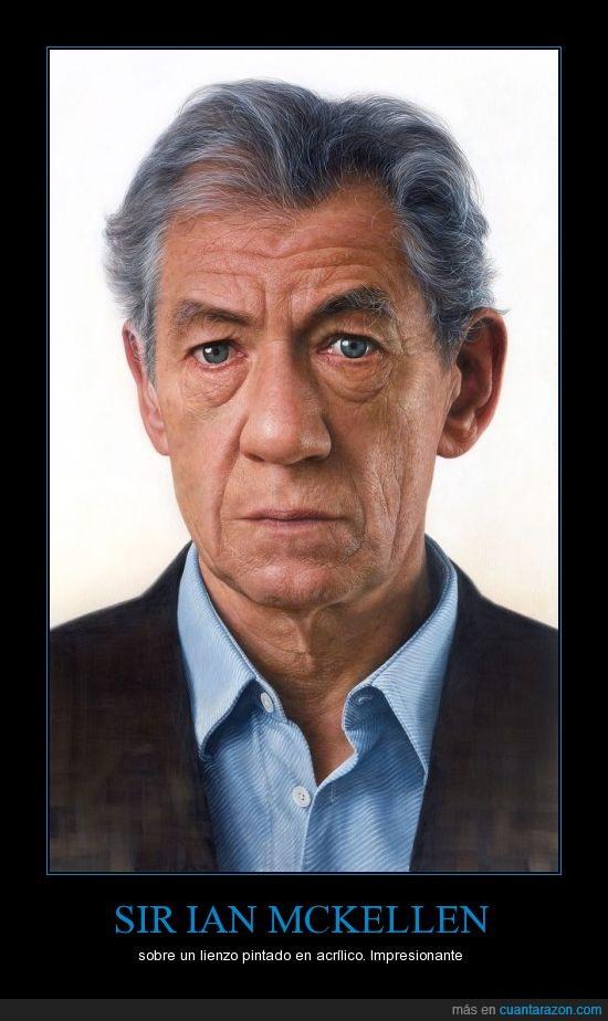 acrílico,lienzo,pintado,pintura,Sir Ian McKellen