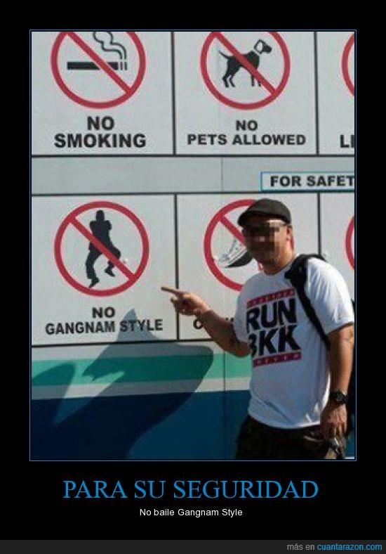 aviso,cartel,Gangnam Style,securidad