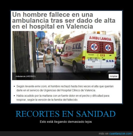 hombre muere ambulancia,hospital valencia,recortes sanidad