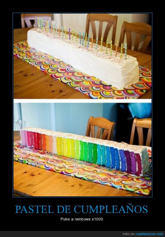 cumpleaños,pastel,puke a ranbow