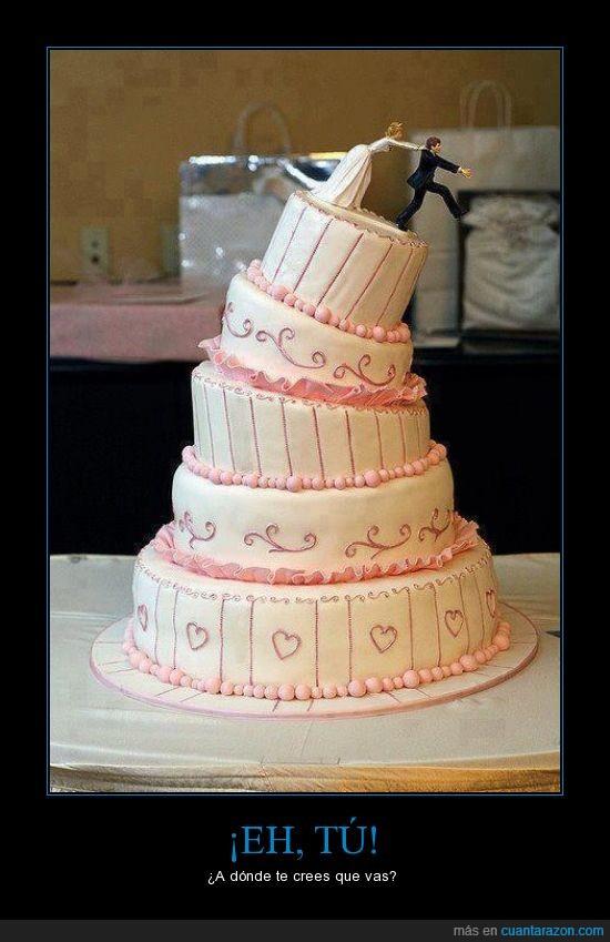 boda,correr,escapar,muñecos,pastel