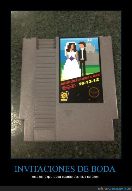 bit,boda,cartucho,friki,gamer,invitación,juego,nintendo,old school