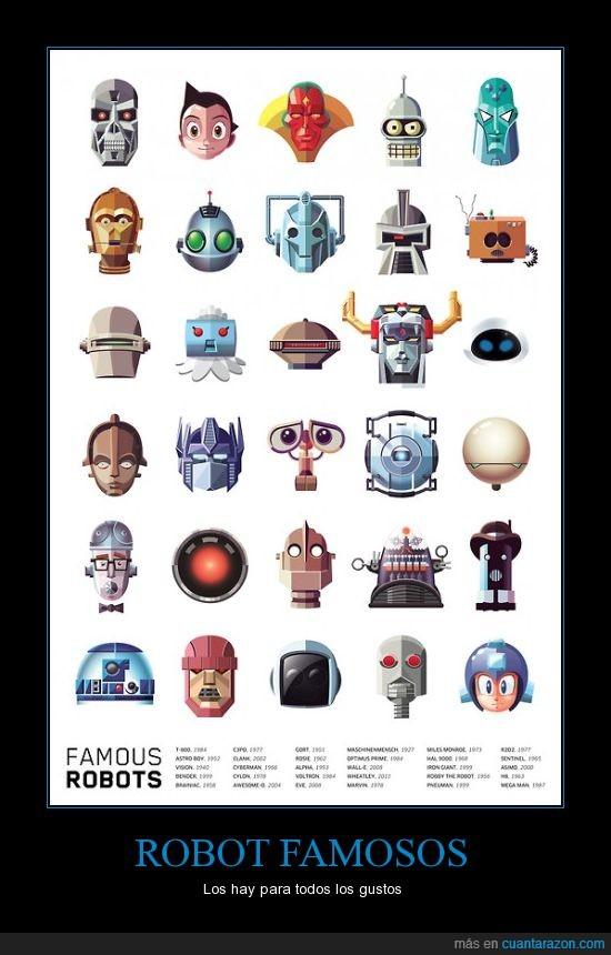 Bender,Megaman,R2-D2,Robots,Terminator