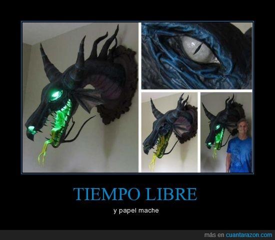 currada,dragon,mache,ojo,papel,verde