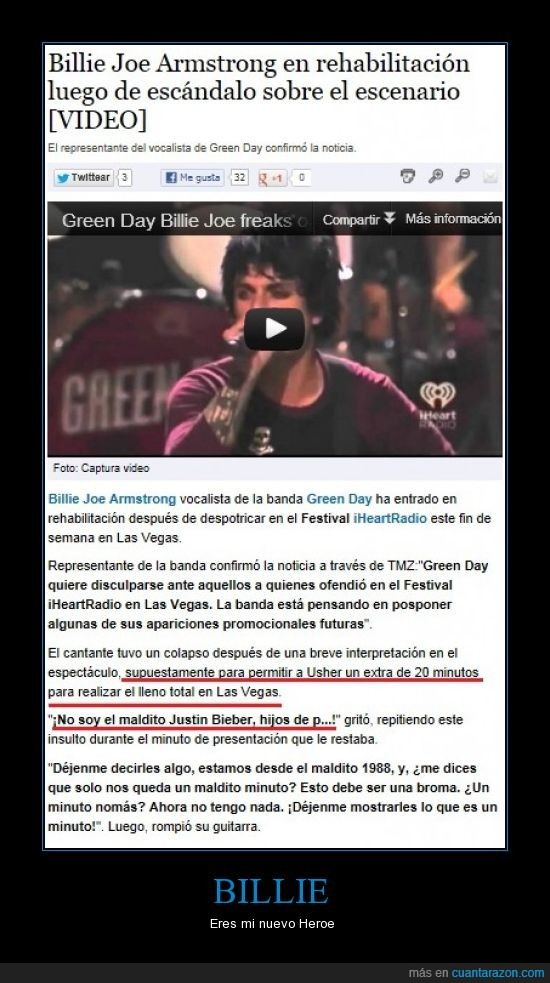 Billie Joe Armstrong,Green Day,Heroe,Maldito Justin Bieber