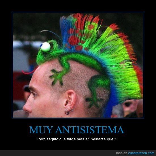 alta gamma de colores,cresta,iguana,mola,peinado extremo,punk,unico