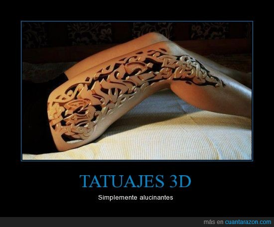 3d,grima,madera,pierna,tatuaje