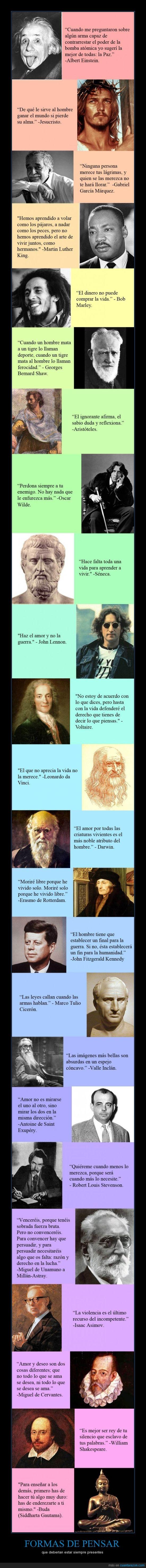 formas de pensar,Frases célebres,grandes personajes de la historia,inundar la mente humana