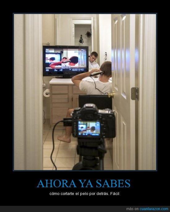 cámaras,cortar,espejo,pelo