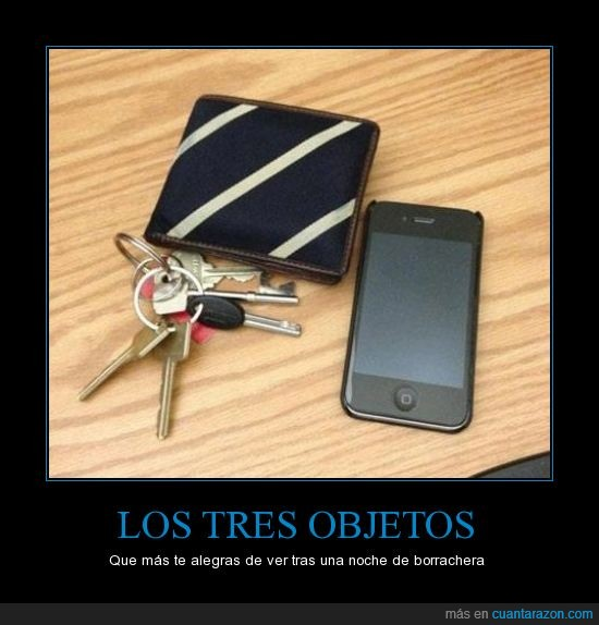 borrachera,cartera,llaves,móvil,objetos