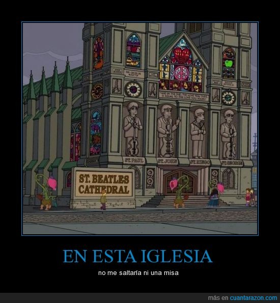 Beatles,catedral,george,iglesia,john,paul,ringo,simpsons