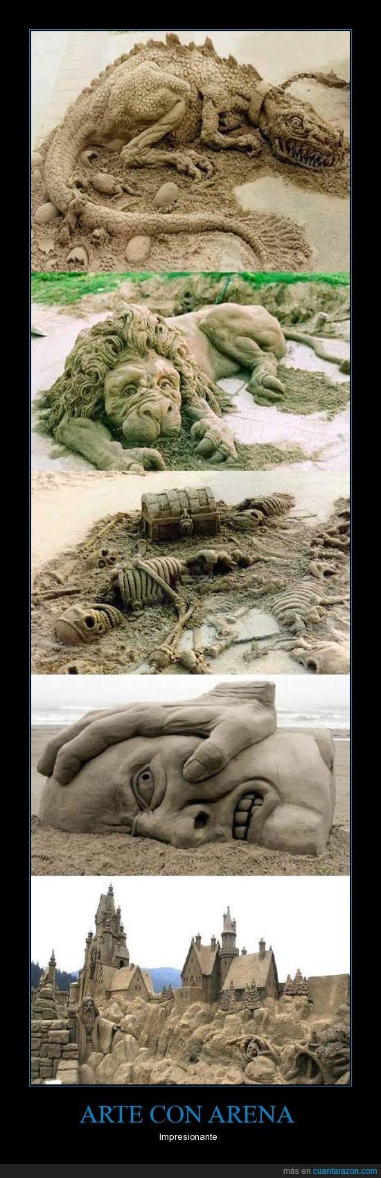 arena,Arte,cara,castillo,dragon,esqueleto,leon,playa