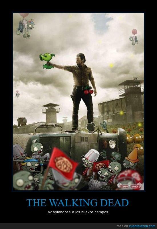 montaje,plants vs zombies,rick,walking dead,zombie