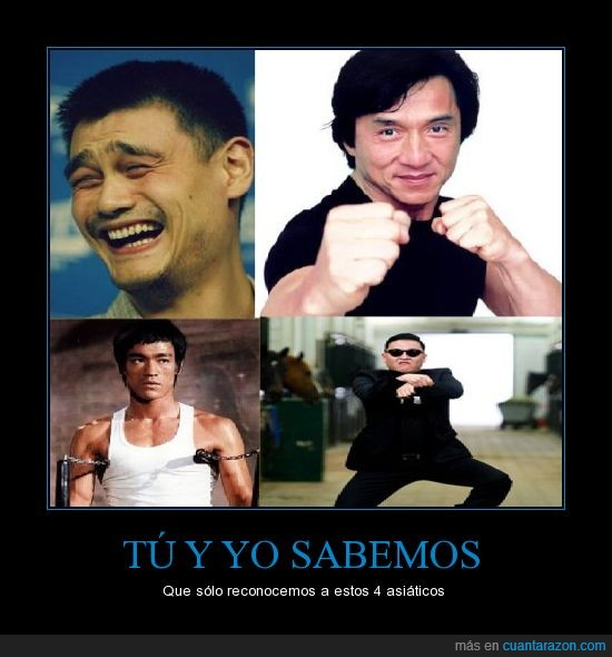 asiáticos,Bruce Lee,Jackie Chan,PSY,Yao Ming