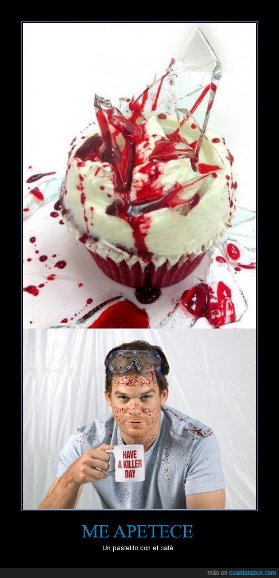 asesino,café,cristales,Dexter,pastelito,sangre