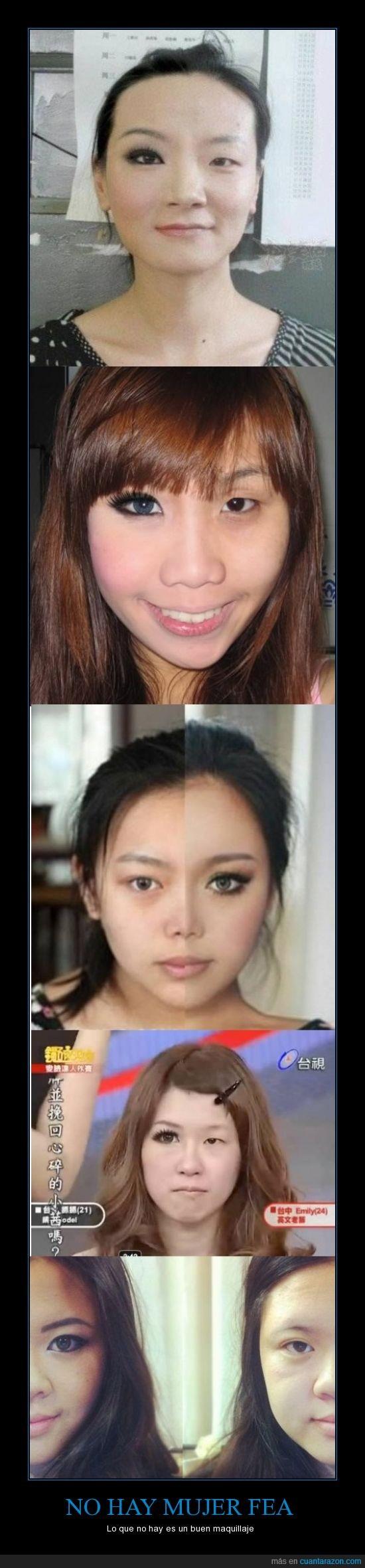 asiatica,cambio,maquillaje,mujer