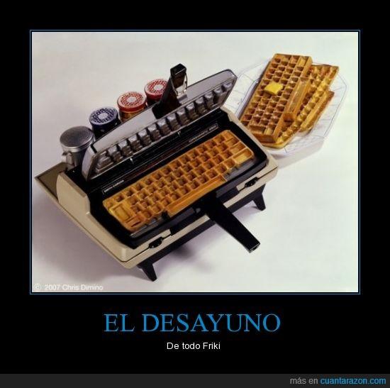 desayuno,friki,teclado,waffles