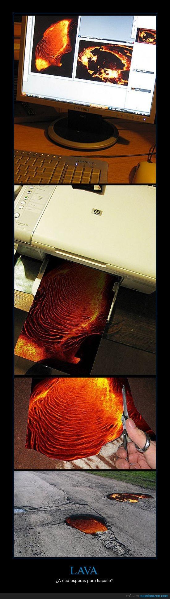 carretera,impresora,imprimir,lava,suelo,troll