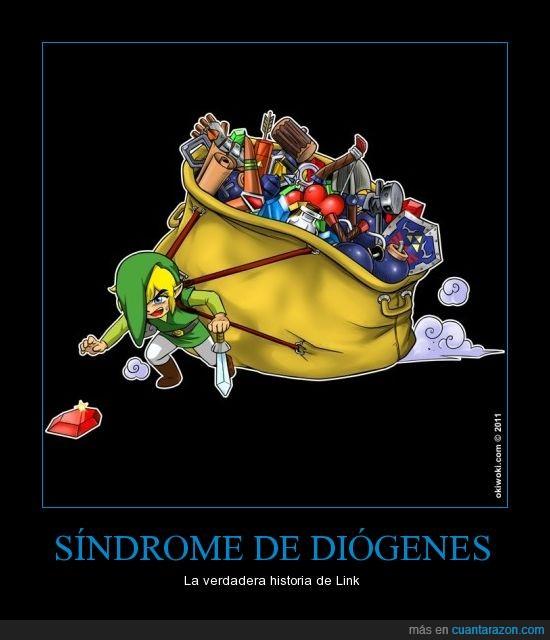 diogenes,guardar,link,mochila,recoger,saco,todo,zelda
