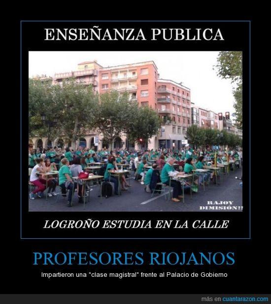 calle,clase,enseñanza pública,estudia,logroño,manifestación,pupitres