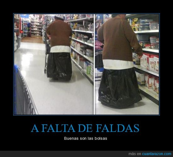 bolsas,falda,faldas,gracioso,mujer,supermercado