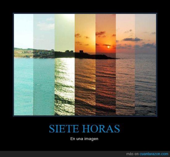 color,dia,franja,hora imagen,luz,mar,playa,siete