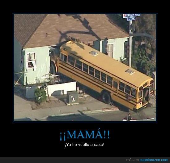autobús escolar,casa,mama