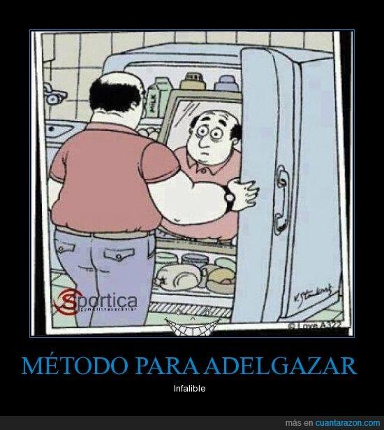 adelgazar,espejo,frigorífico,Gordo