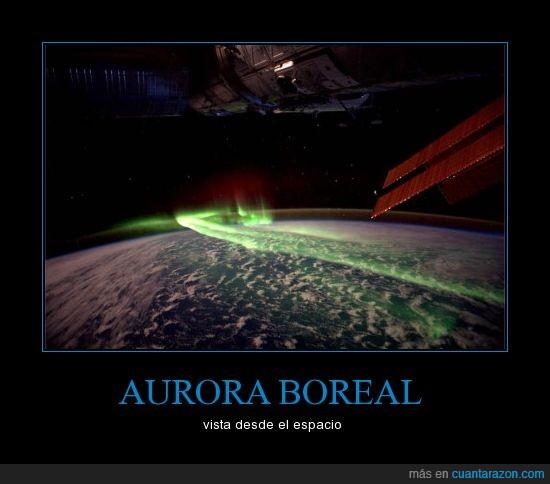 aurora,boreal,espacio,impresionante,verde