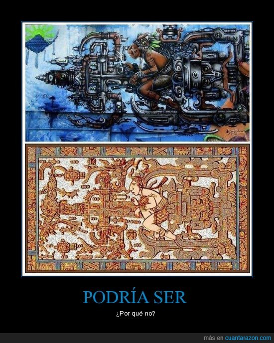 espacio,extraterreatre,maquina,maya,pintura