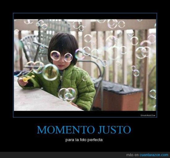 burbujas,gafas,momento justo,niña