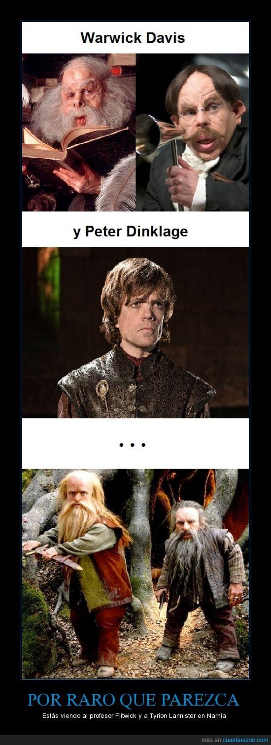 Filius Flitwick,Game of Thrones,Griphook,Harry Potter,Narnia,Nikabrik,Trumpkin,Tyrion Lannister