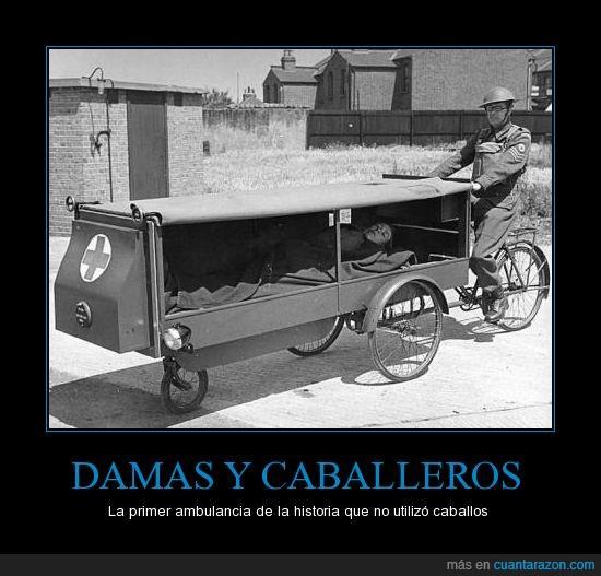 Ambulancia,bici,se morían antes de llegar al hospital,sin caballos