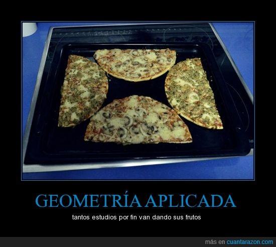 cortar,estudios,genio,geometria,horno,mitades,pizza,por fin