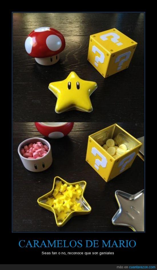 caja,caramelo,chuchería,dulce,estrella,halloween,mario,seta