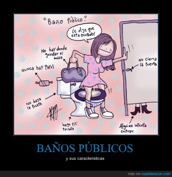 Baño publico,bolso,caracteristicas,chica,lavabo,problema
