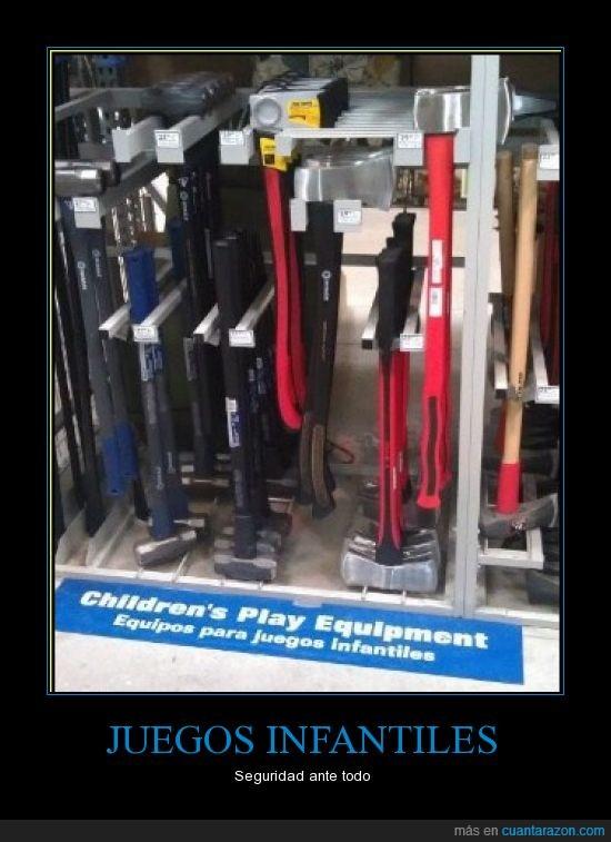 hacha,herramientas peligrosas,infantiles,juegos,jugar,martillo