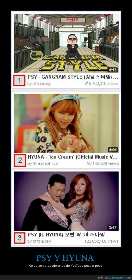 apodera,cream,ft,gana,gangnam,HYUNA,ice,official4minute,officialpsy,pejores,PSY,style,youtube,z4pt0s