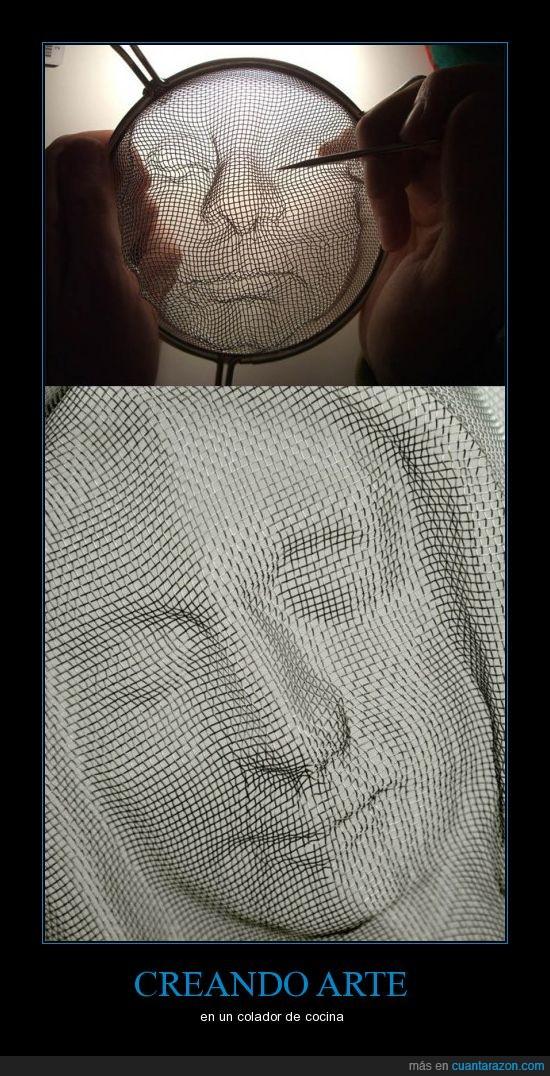 arte,colador,creatividad,paciencia,rostro
