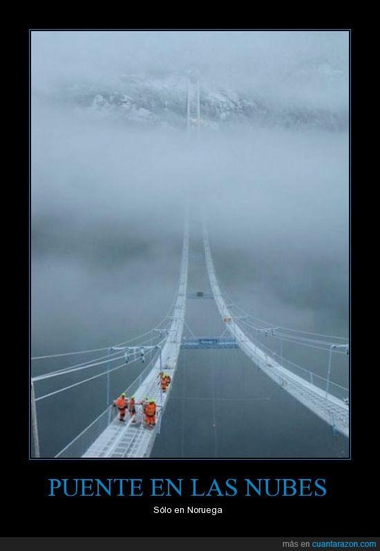 megustanlostrenes amarillos,Noruega,nubes,Puente,y verdes