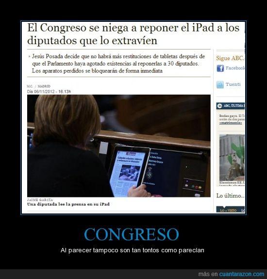 congreso,españa,ipad,ladron,perder,politicos,robar