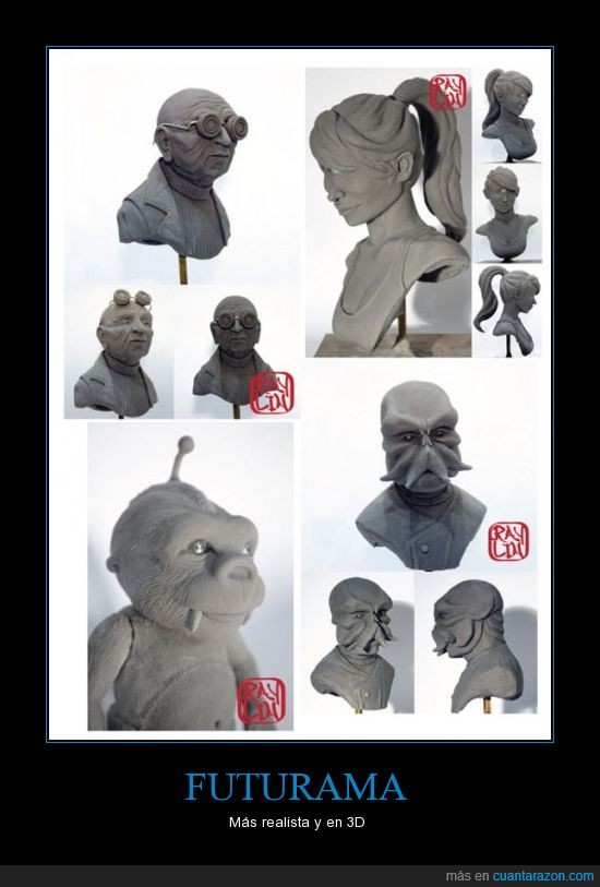 escultura,esculturas,futurama,leela,mordisquitos,zoidberg