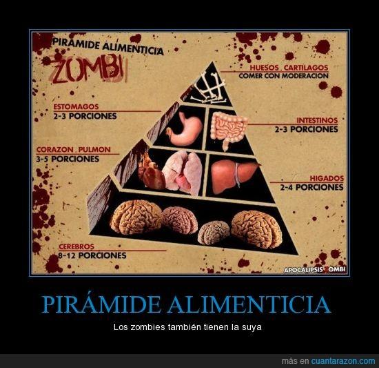 cerebros,comida,Pirámide Alimenticia,zombies