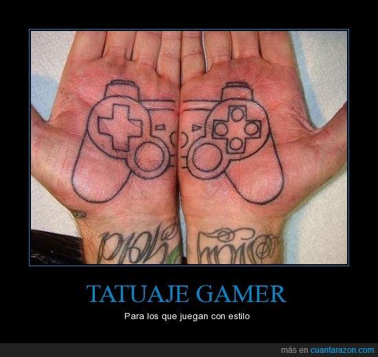 dualshock,gamer,mando,mano,palma,play,Tattoo,tatuaje