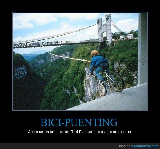 adrenalina,bicicleta,gente,locura,puente,red bull,subidon
