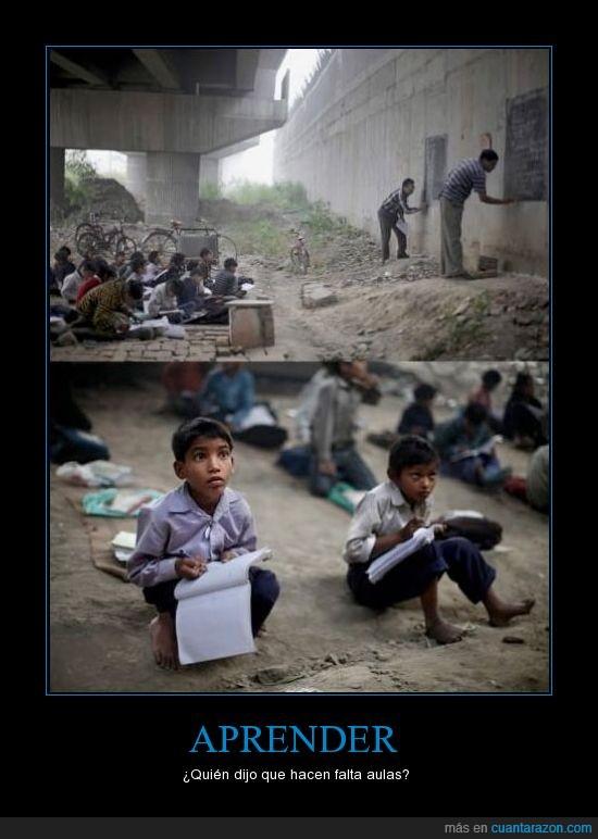 alumnos,aula,clase,indio,niño,puente