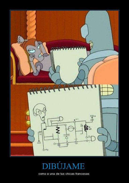 Bender,circuito,dibujar,futurama,robot
